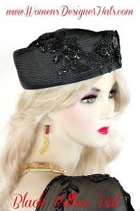 Women's Black Formal Special Occasion Designer Pillbox Hat Fashion Hats