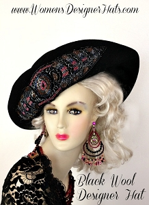Black Winter Wool Floppy Brim Women's Hat With A Beaded Applique