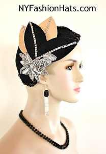 Women's Art Deco 1920's Flapper Winter Wool Black Tan Metallic Silver Cocktail Hat Wedding Fascinator Headpiece