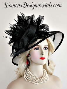 Black Couture Custom Made Lampshade Hat Feathers, Designer Dress Hats