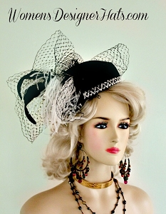 Womens Black White Special Occasion Designer Pillbox Hat Fashion Hats
