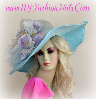 Pastel Blue Lavender Wide Brim Hat With Flowers Ladies Hats 8KZW
