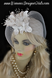 White Wedding Bridal Hat 1920s Flapper Hat Cocktail Hats For Women