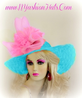 Turquoise Blue And Pink Kentucky Derby Wedding Hat Women's Hats KV9