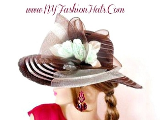 Brown Pistachio Mint Green Designer Hat With Roses, NY Fashion Hats
