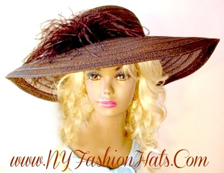 Ladies Brown Dress Designer Fashion Hat Kentucky Derby Hats 9JRQ