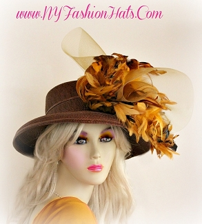 Ladies Brown Designer Kentucky Derby Hat With Mustard Yellow Feathers