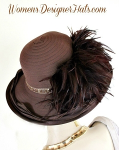 Ladies Brown Feathered Wide Brim Fashion Hat, Women's Designer Hats
