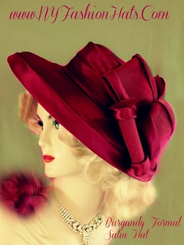 Ladies Burgundy Designer Satin Fashion Hat Holiday Wedding Tea Hats