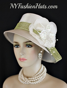 Women's Ivory Soft Beige Satin Lime Green Rhinestone Wedding Church Designer Dress Hat, Kentucky Derby Hats