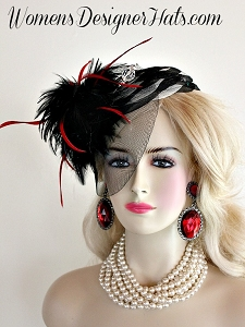 Black Cream Red Cocktail Hat Wedding Fascinator, Formal Designer Hat 8NP