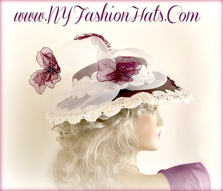 Ladies Eggplant Purple Satin Hat With Butterflies Fashion Tea Hats