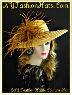 Women's Gold Wide Brim Church Dress Hat With Feathers Tea Hats M09