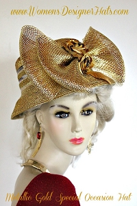 Metallic Gold Formal Church Hat For Women, Ladies Designer Hats