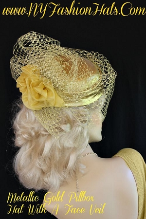 Ladies Metallic Gold Lame Organza Cocktail Hat Designer Fashion Hats