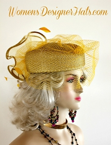 Metallic Gold Birdcage Veil Pillbox Cocktail Hat Woman's Designer Hats