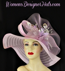 Pastel Purple Silver Wide Brim Designere Hat, Kentucky Derby Hats