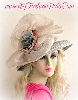 Ladies Silver Grey Designer Kentucky Derby Hat With Flowers 445 Hats