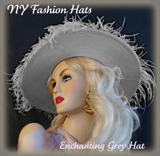 Women's Wide Brim Silver Grey Designer Kentucky Derby Hat TJ998 Hats