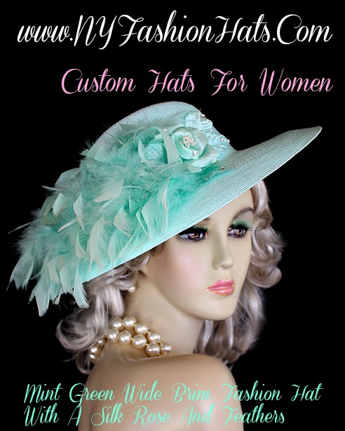 Ladies Custom Mint Green Designer Church Dress Hat, NY Fashion Hats