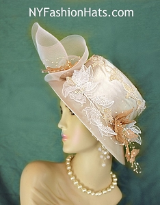 Champagne Beige Women's Couture Satin Dress Wedding Church Hat Headpiece 1377