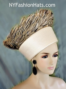 Hat Haute Couture Ivory Brown Feathered Pillbox Fashion Runway Designer Women's Hats