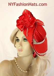 Couture Wedding Bridal Hat Red Shaped Pillbox Fashion Royal Ascot Hats 3H6