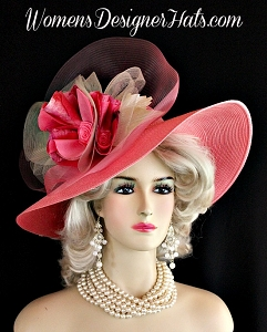 Hot Pink Ivory Wide Brim Couture Designer Hat Fashion Wedding Hats 744