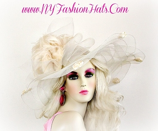 Ivory Wide Brim Designer Hat With Rosettes And Feathers Ladies Hats