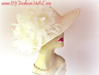 Ladies Ivory Pink Red Fashion Designer Dressy Hat Church Hats 3JK