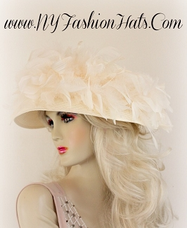Ivory Dressy Special Occasion Hat With Feathers Ladies Hats VT876