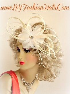 White Ivory Black Designer Wedding Bridal Headpiece Cocktail Hat 7ZE