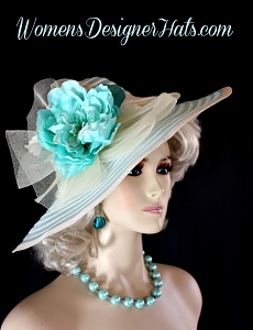 Ivory Turquoise Blue Aqua Wide Brim Designer Fashion Hat Women's Hats