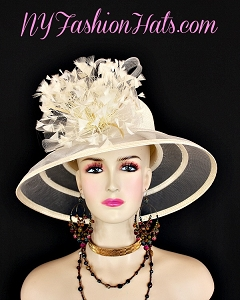 Ladies Ivory Wide Brimmed Designer Kentucky Derby Hat NY Fashion Hats