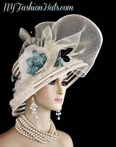 Ivory Teal Blue Green Designer Kentucky Derby Fashion Hat Woman's Hats