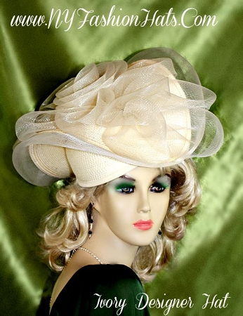 Ladies Ivory Designer Wedding Fashion Hat Holiday Dress Hats Y823