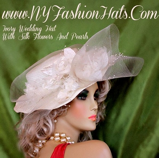 Women's Ivory Bridal Wedding Brides Hat Silk Flowers Pearls Dress Hats