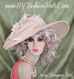 Ladies Ivory Wide Brim Designer Hat With A Satin Bow Flowers Beads