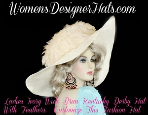 Ivory Wide Brim Designer Hat With Feathers Couture Kentucky Derby Hats