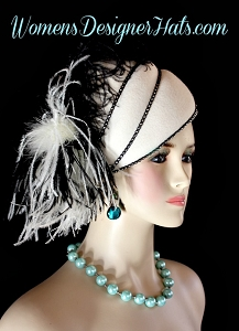 Ivory Black Winter Pillbox Fashion Designer Hat Women's Formal Hats