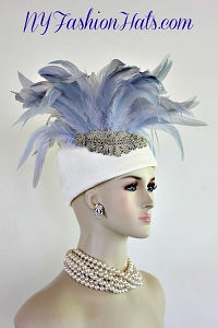 Women's Designer Ivory Ice Blue Silver Beaded Pillbox Hat Fashion Hats