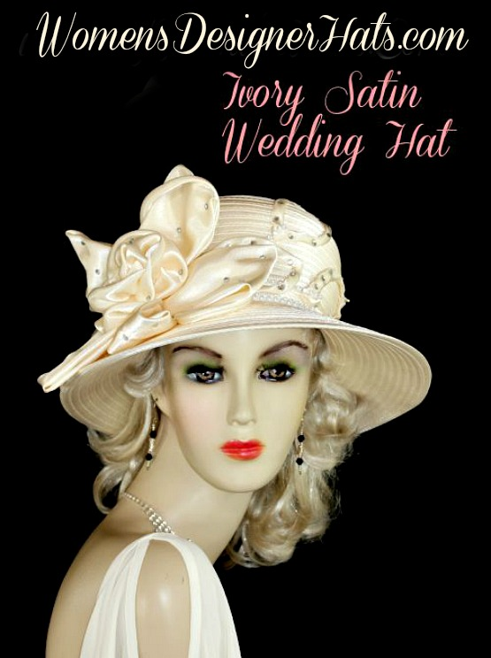 5c782a950dfcd Woman s Ladies Ivory And White Wide Brim Satin Formal Wedding Bridal Church  Hat. This Glamorous Designer Hat Is Suited For Fashion Dress Up Events