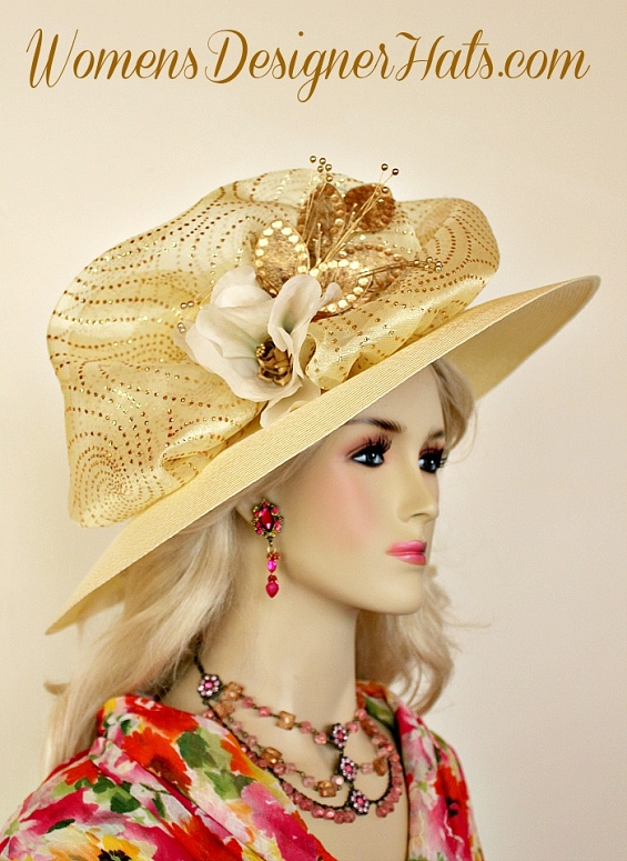 e129126260203 Ladies Yellowish Ivory Wide Brim Kentucky Derby Hat With Ivory Silk And  Metallic Gold Velvet Millinery Flowers