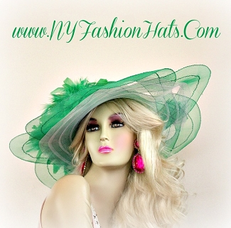 Kelly Green Wide Brim Kentucky Derby Designer Women's Hat Hats 223B