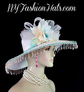 Women's White Aqua Green Ivory Wide Brim Designer Kentucky Derby Hat 3QU8