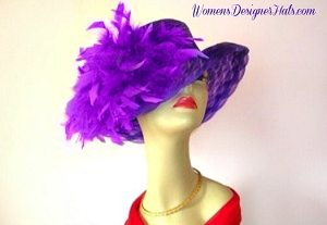 Ladies Hat Purple Ivory Brown Navy Red Pink Black Women's Dress Hats