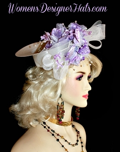 Custom Crownless White Lavender Designer Hat Women's Fashion Hats