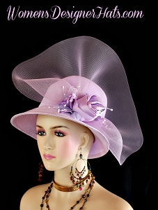 Lilac Purple Lavender Church Wedding Dress Hat Women's Formal Hats BR721