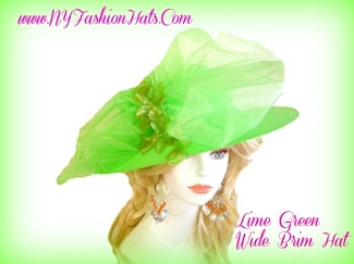 Lime Green Wide Brim Designer Church Wedding Hat Ladies Hats 7BCV