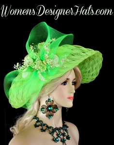 Ladies Lime Green Designer Hat Flowers Weddings Bridal Woman's Hats
